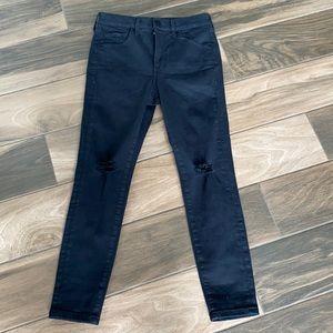Express skinny distressed black jeans 2 short